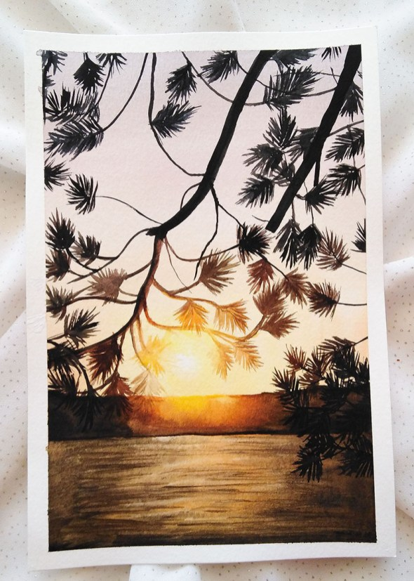 Nesrine Ziadi watercolor Bright Sunset Doodlewash