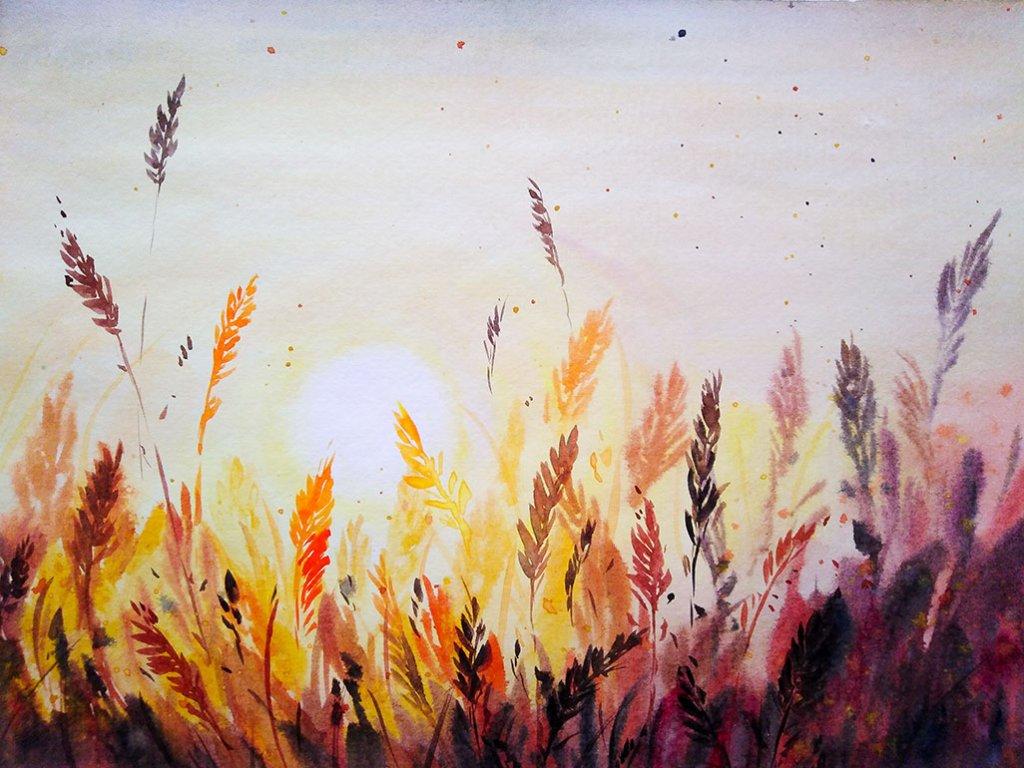 Nesrine Ziadi watercolor Sunset Doodlewash