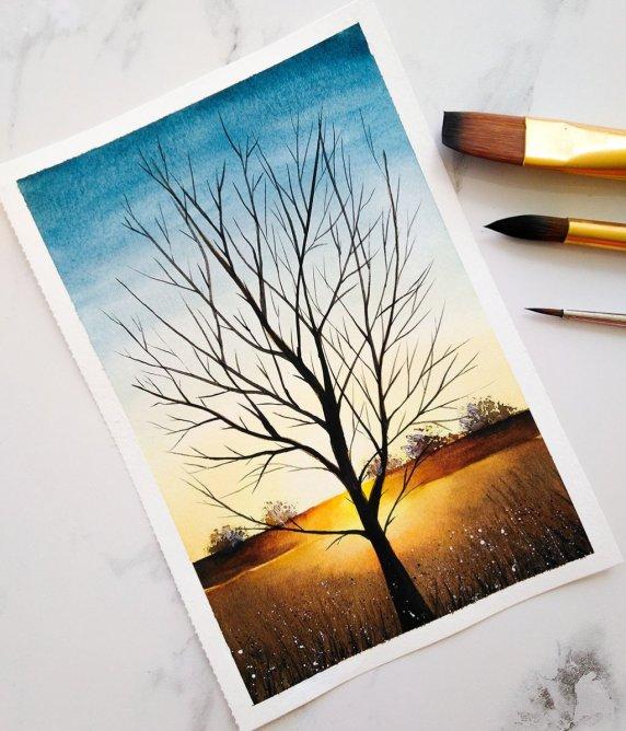 Nesrine Ziadi watercolor Tree Sunset Doodlewash