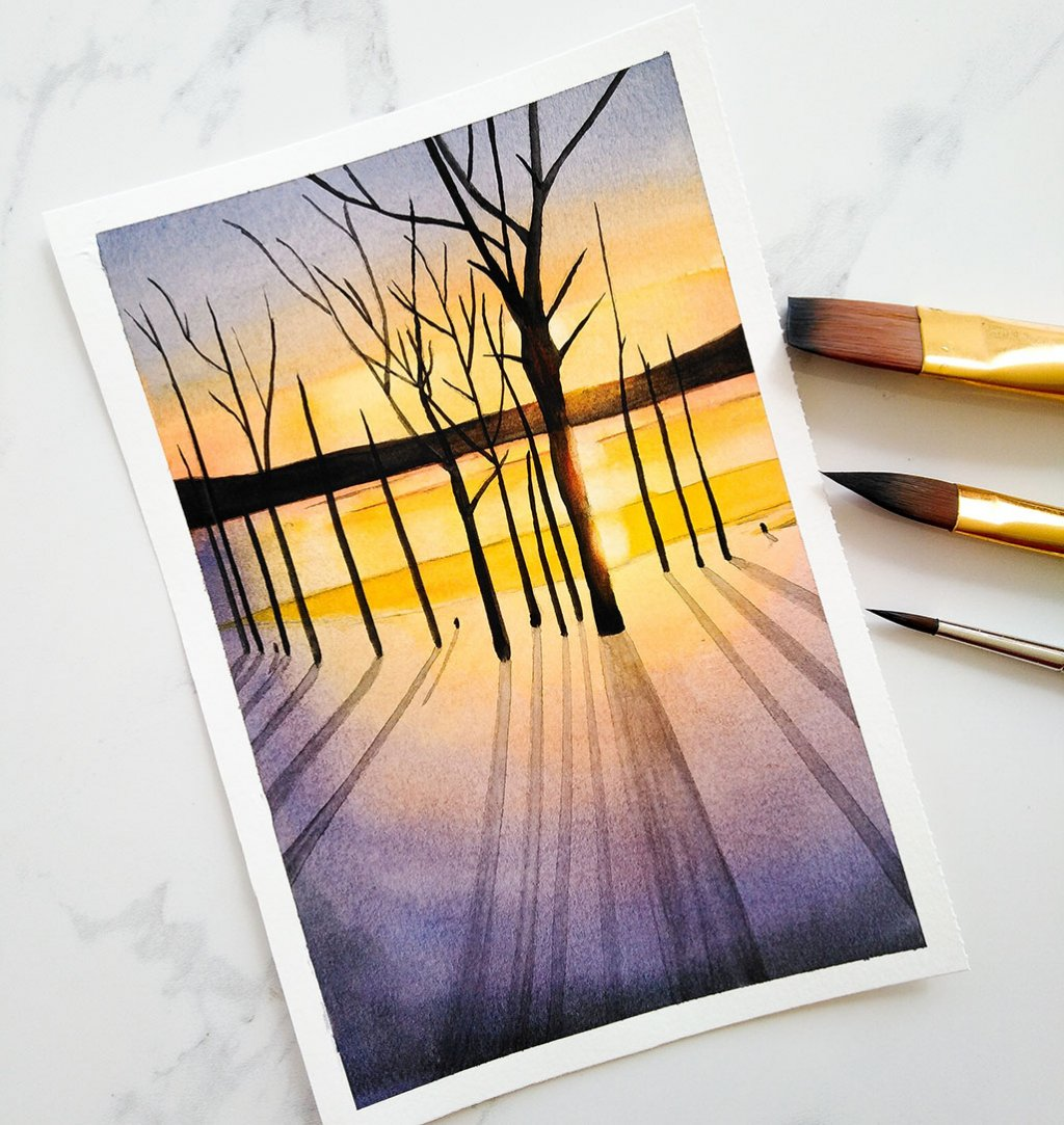 Nesrine Ziadi watercolor Tree Sunset Shadows Doodlewash