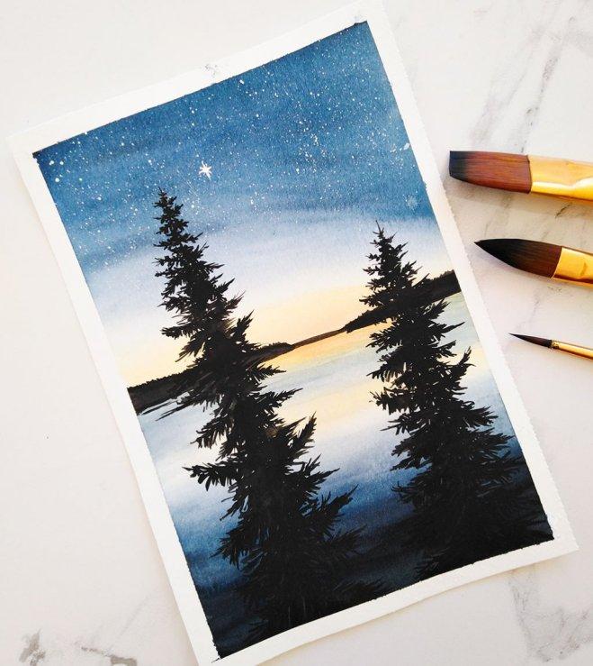 Nesrine Ziadi watercolor Tree Water Silhouette Doodlewash