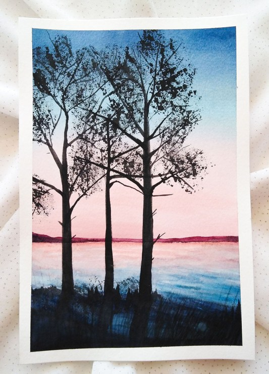 Nesrine Ziadi watercolor Trees On Water Doodlewash