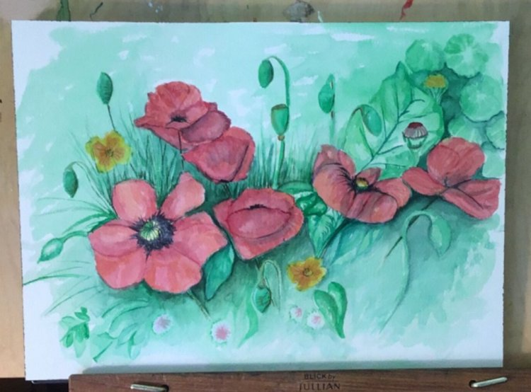Poppies Arches 140# Cold Press 10 x 14 Poppies 10×14 Arches 140# Cold Press