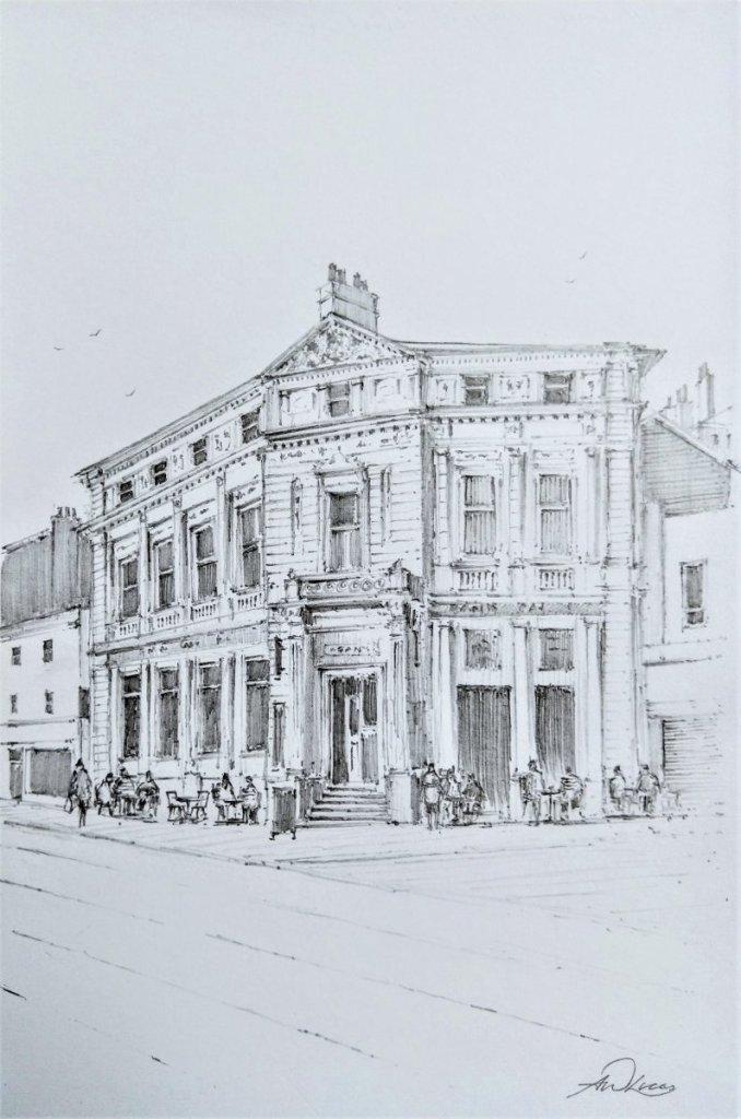 """"""" The Old Bank """", Torquay, England. Andrew Lucas Pencil sketch, 21 x 15 cm, I hope you e"""