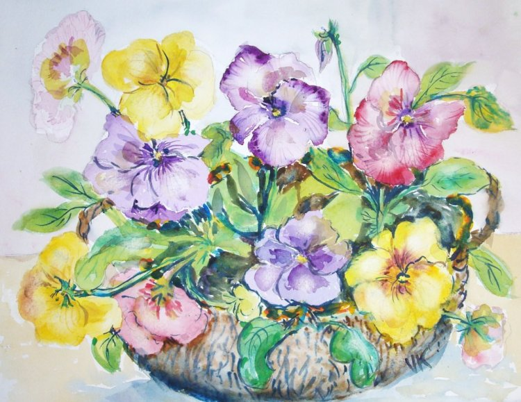 Pansies are like little faces. baskofpansies