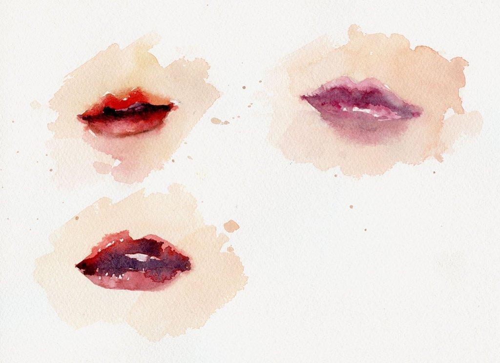 Watercolor Lips by Susan Chiang - Doodlewash