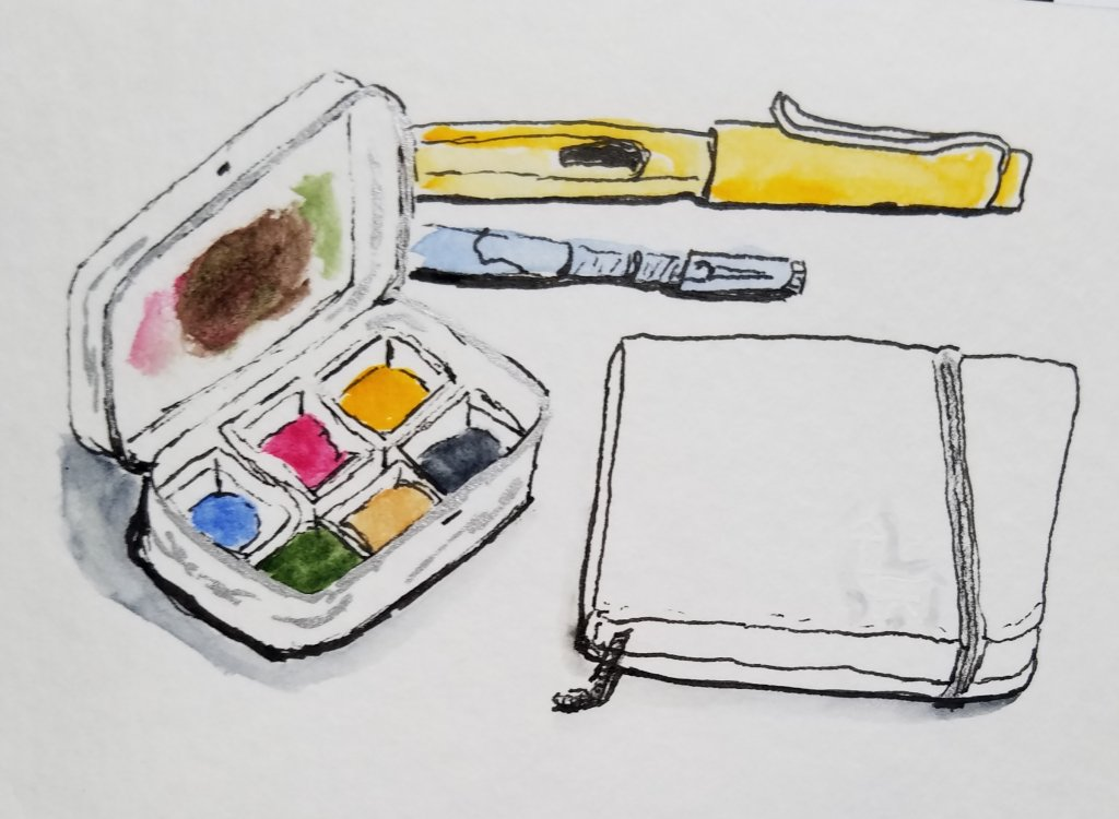 This is my smallest travel kit. The new A-6 etchr Perfect Sketchbook is the latest addition. 2019073