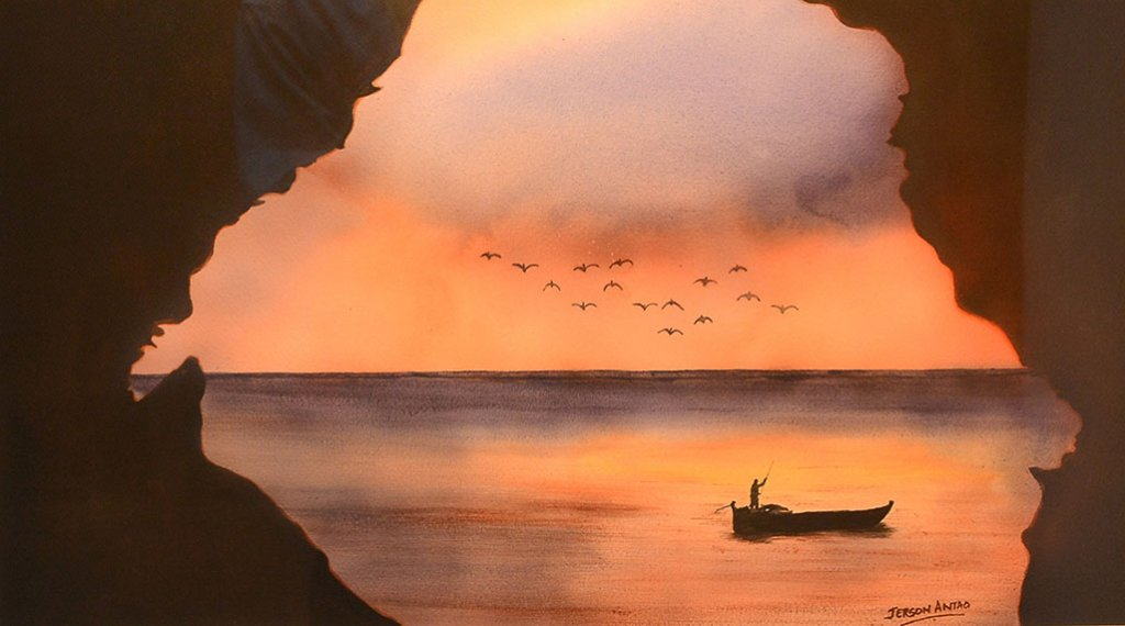 Boat On Water Sunset Watercolor Painting Jerson Antao