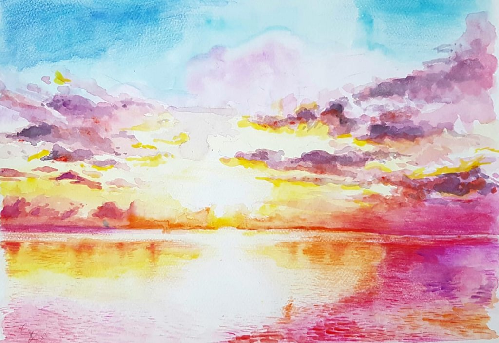 Colorful Sunset Watercolor Painting by Emaan Imtiaz