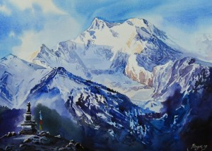 Mountain from Manang Watercolor on paper 15×11 inch 2019 DSC_1023_2