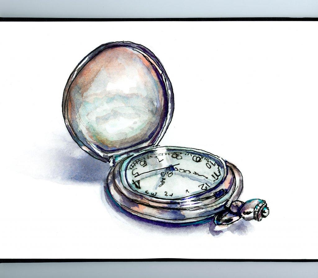 Pocket Watch Clock Watercolor Illustration Sketchbook Detail
