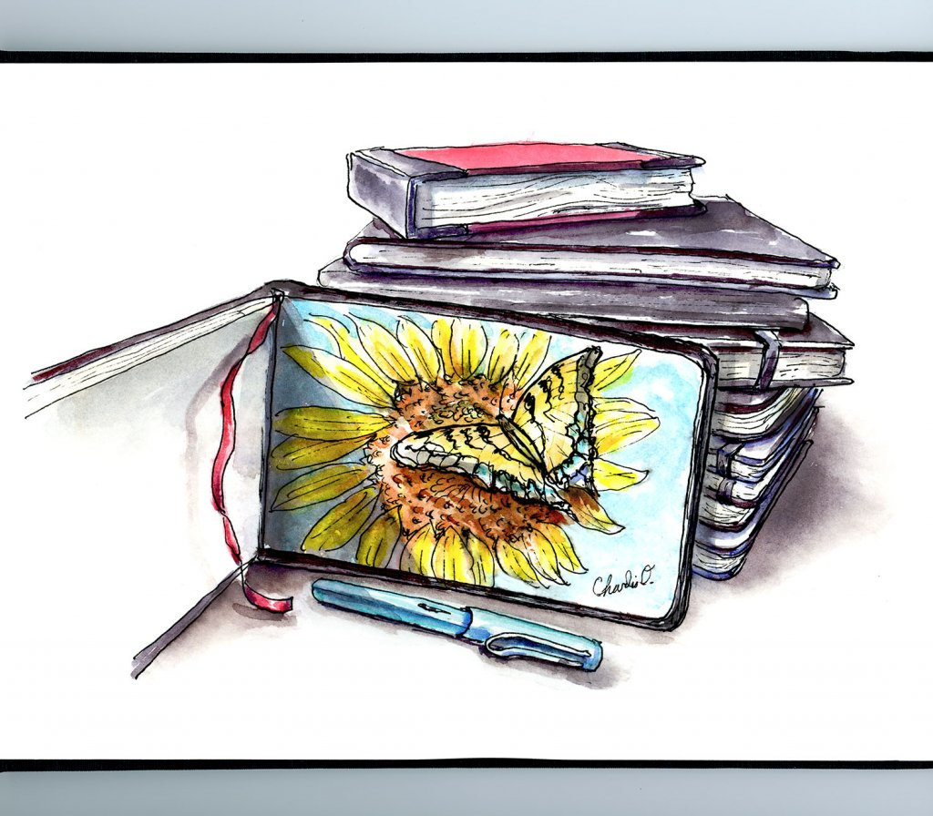 Sketcbooks Stack Sunflower Butterfly Illustration Sketchbook Detail
