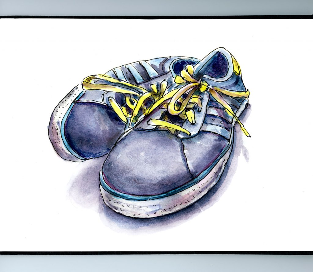 Tennis Shoes Watercolor Illustration Sketchbook Illustration