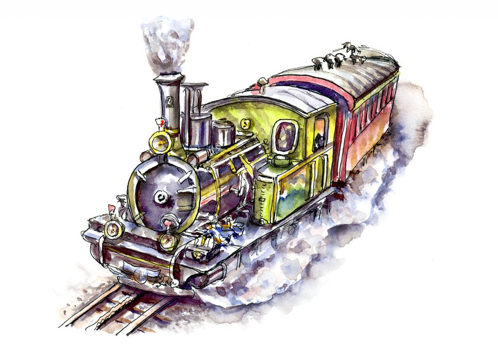 Steam Train Watercolor Illustration