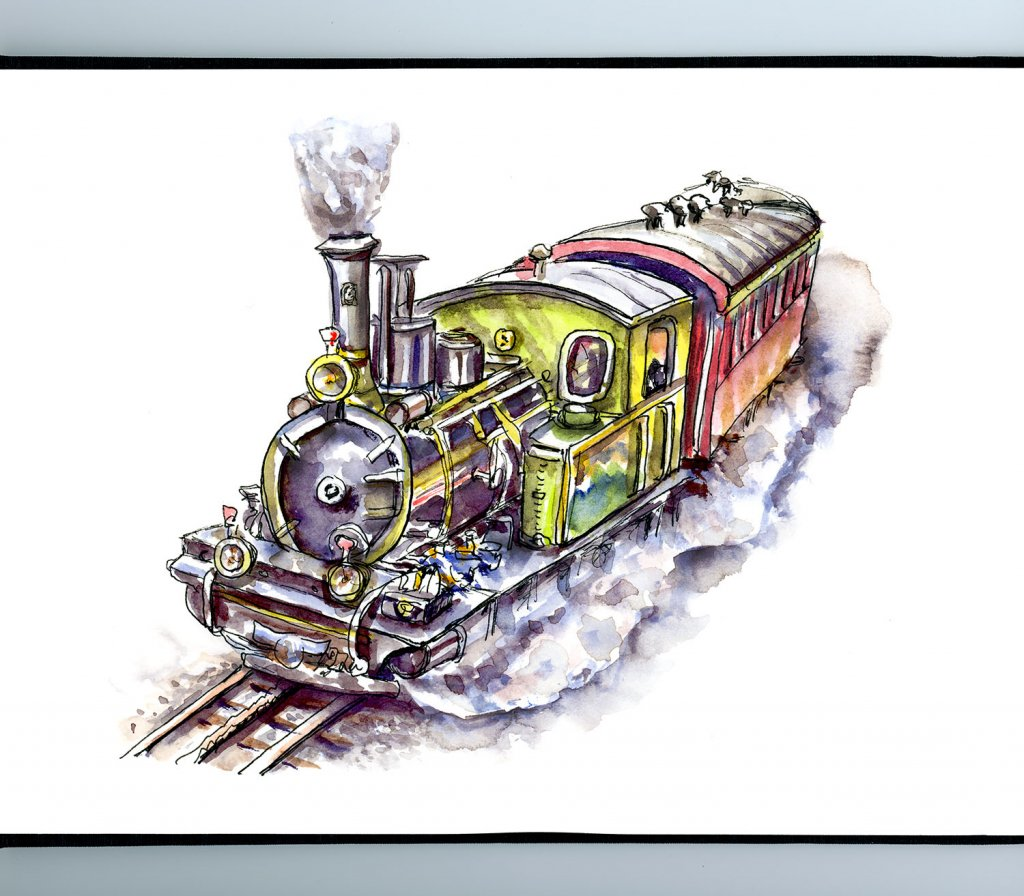 Steam Train Watercolor Illustration Sketchbook Detail