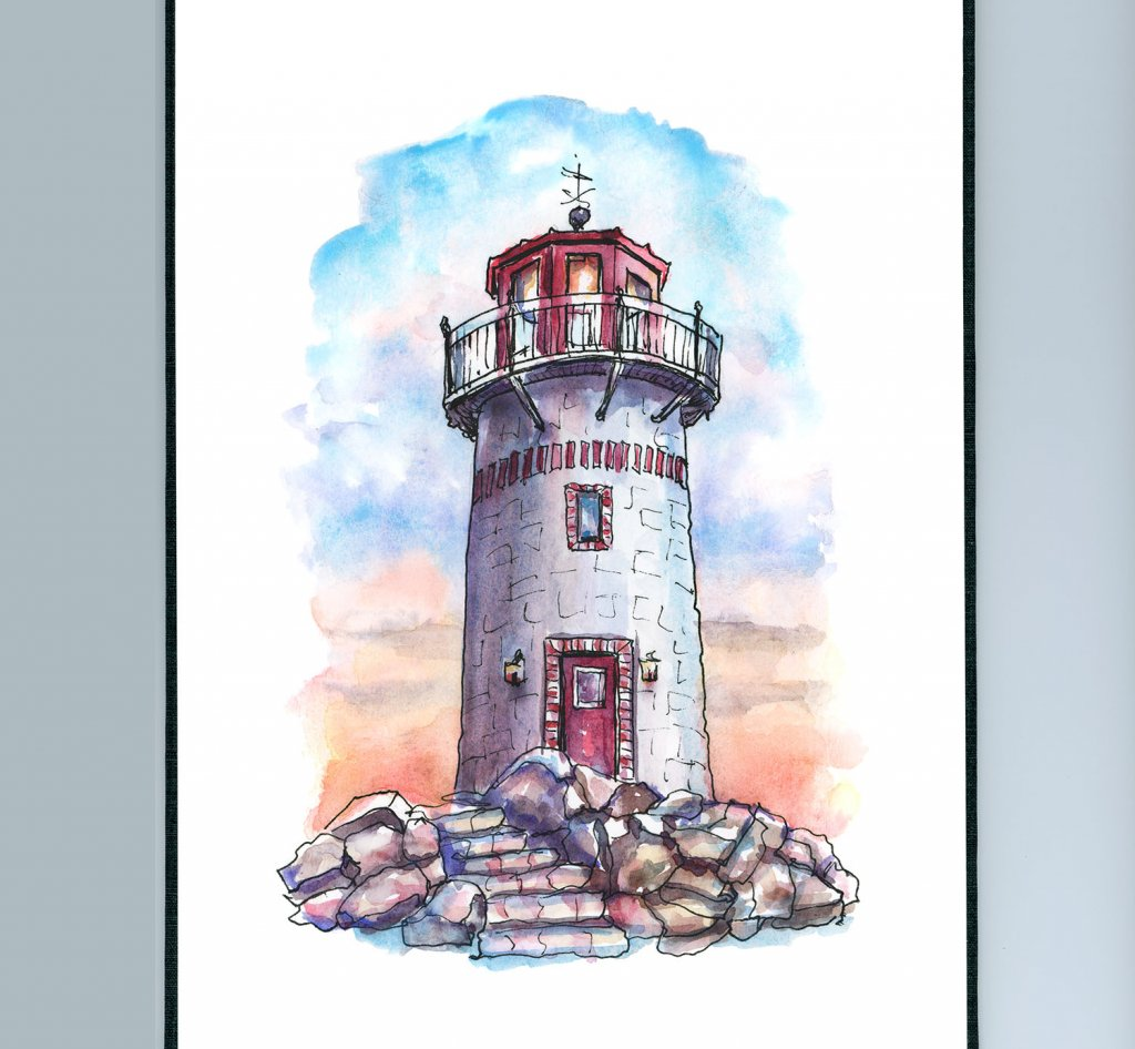 Lighthouse Watercolor Painting Sketchbook Detail