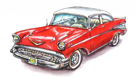 57 Chevy Classic Car Watercolor Illustration