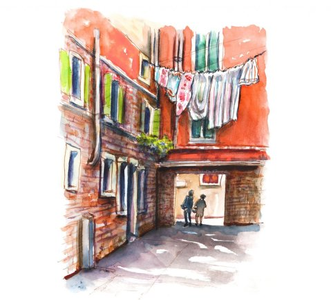 Clothes Hanging In Venice Watercolor Painting