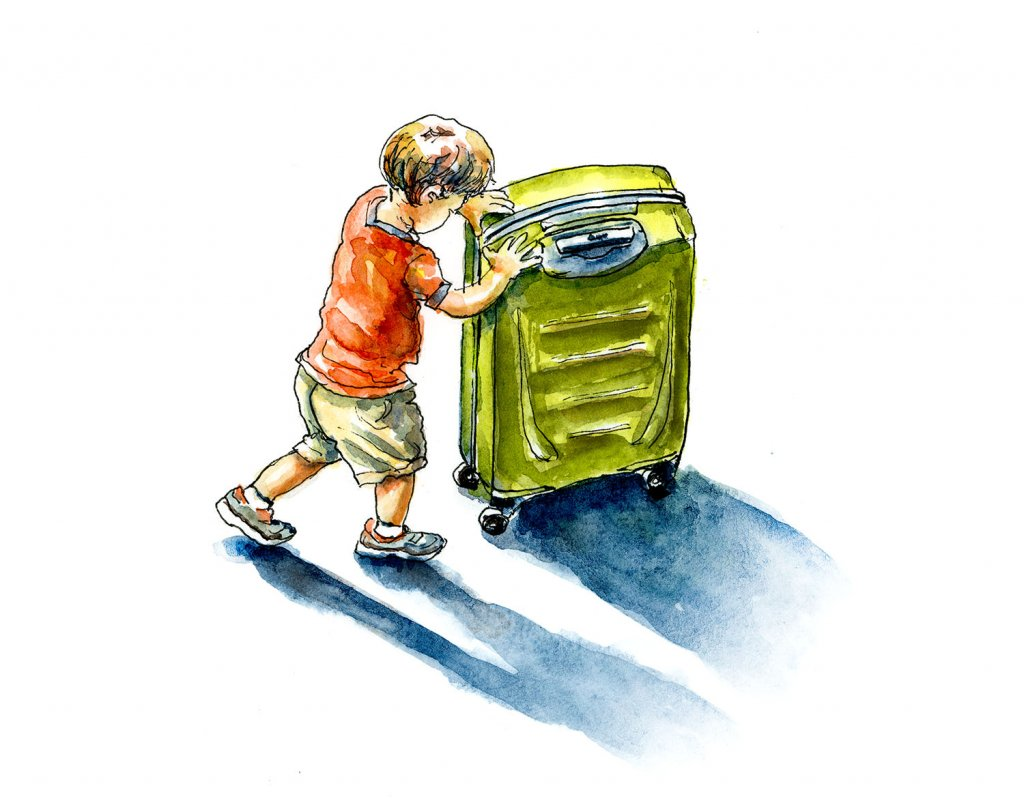 Little Boy Suitcase Travel Watercolor Illustration