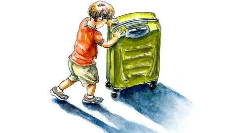 Little Boy Suitcase Travel Watercolor Illustration