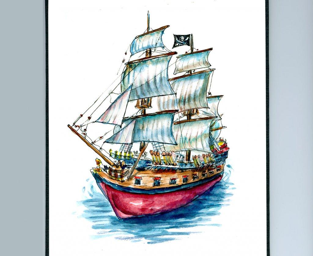 Pirate Ship Watercolor Illustration Sketchbook Detail