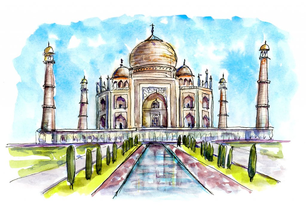 Taj Mahal Watercolor Illustration