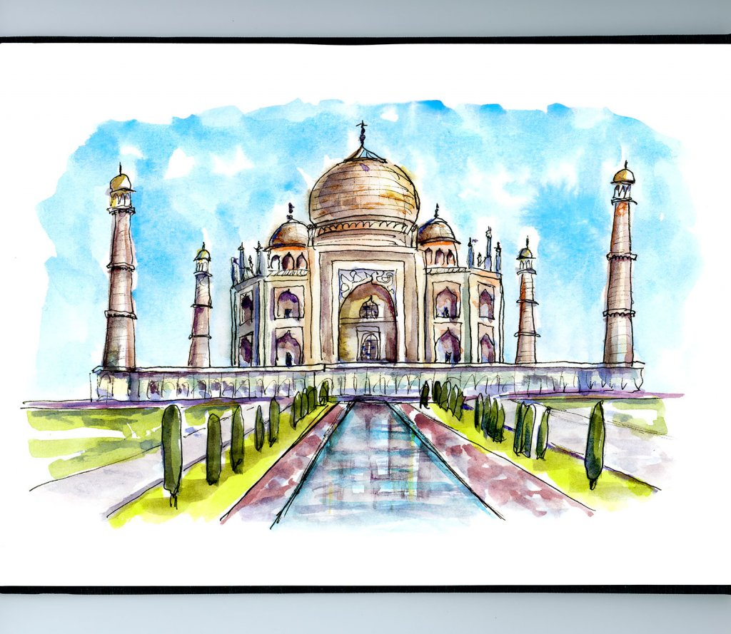 Taj Mahal Watercolor Illustration Sketchbook Detail