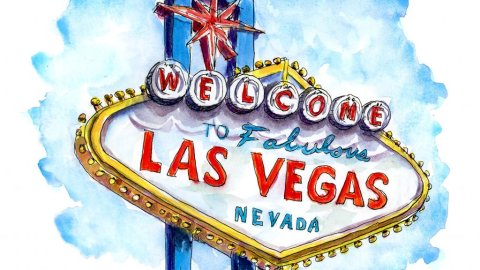 Welcome To Las Vegas Sign Watercolor Illustration