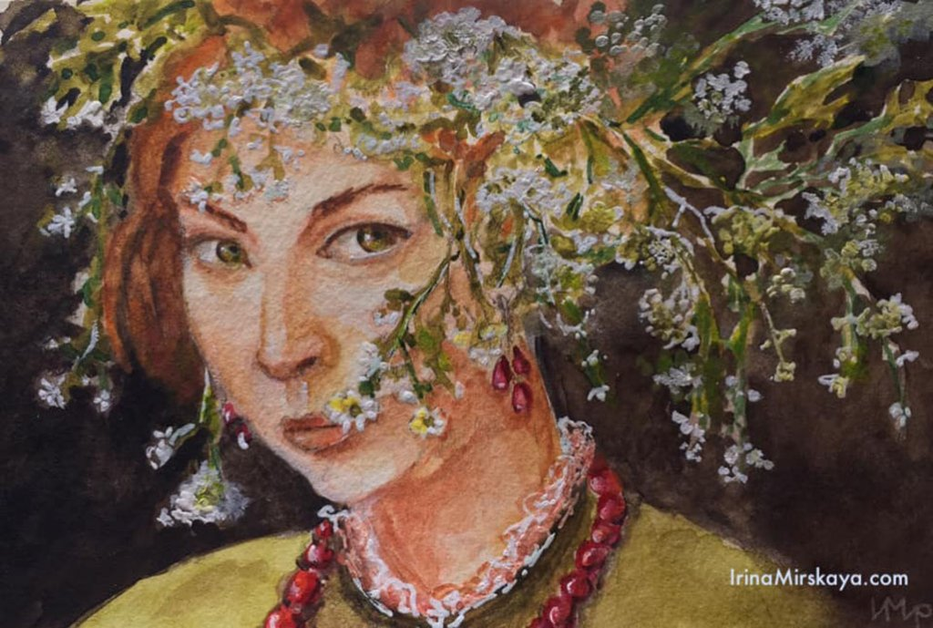Woman's Portrait With Flowers In Hair Watercolor Painting by Irina Mirskaya