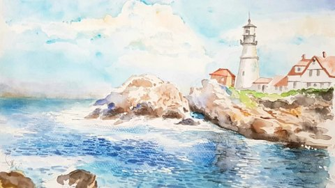 Lighthouse Watercolor Painting by Emaan Imtiaz