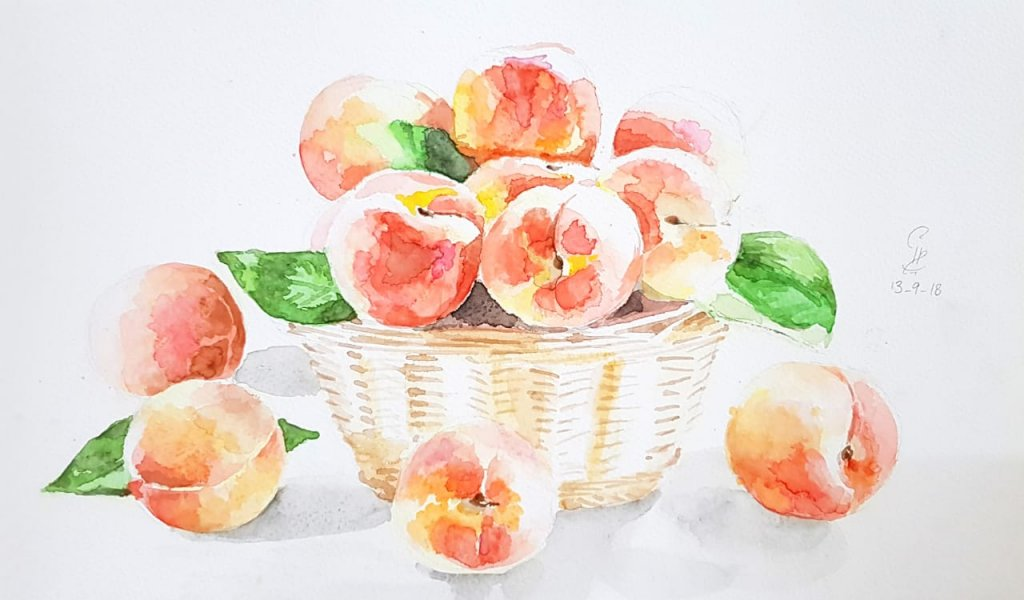 Peaches In Basket Watercolor Painting by Emaan Imtiaz