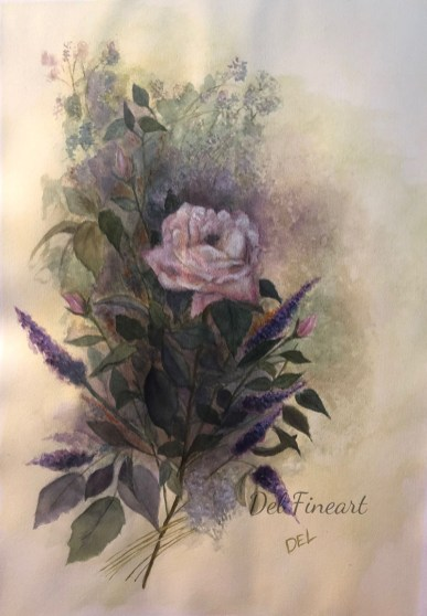 Rose Watercolour by Del Fineart