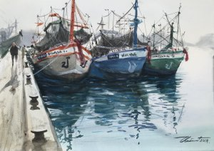Title : Fishing boat. Technique : Watercolor on paper 300gsm. Size : 30cm. x 42cm. Artist : Chainuwa