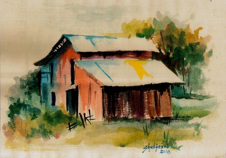 A barn on the way by Shubhasri Dasgupta