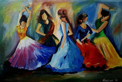 Dancers(acrylic) by Shubhasri Dasgupta