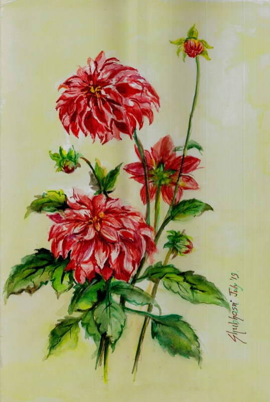 Garden dahlia watercolour painting by Shubhasri Dasgupta