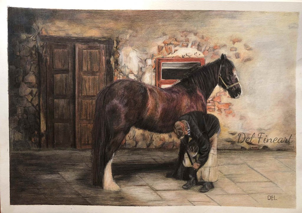 Trust Horse Colored Pencil by Del Fineart
