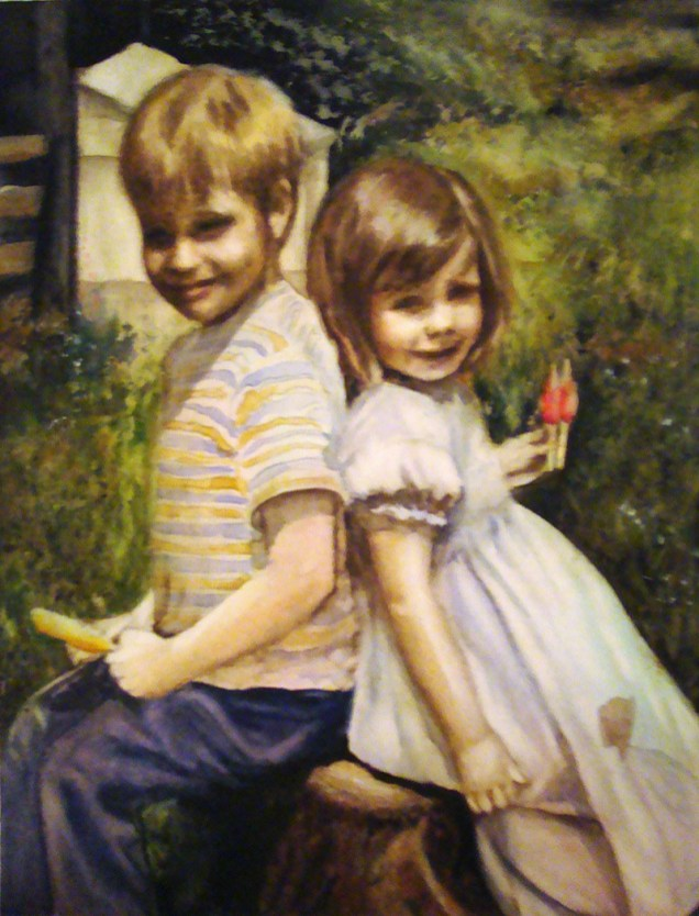 Two Children Watercolor Painting Renee Marks