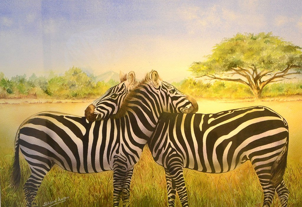 Two Zebras Watercolor Painting by Jerson Antao