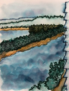 More ink painting, USk Urban Sketching style, the view from our client\'s window of the Willam
