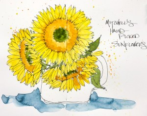 Mitchell brings me sunflowers, my favorite! Like sunshine in a vase! W19 8 24 CLAIREFONTAINE MITCHEL