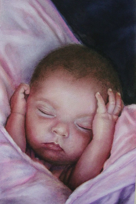 Young Baby Watercolor Painting Renee Marks