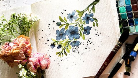 Watercolor floral painting by Kratika Agarwal