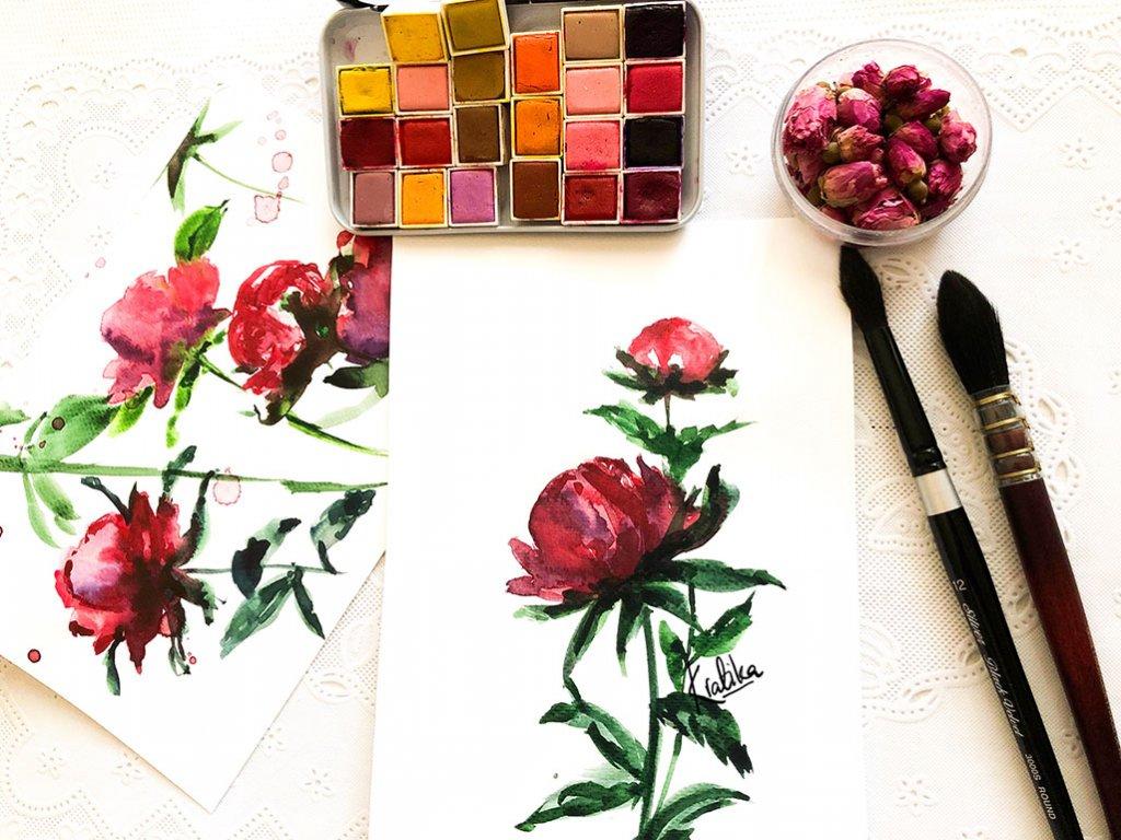 watercolor red flowers painting by Kratika Agarwal