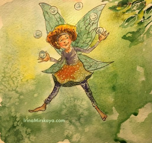 Fairy Juggling Bubbles Watercolor Painting by Irina Mirskaya