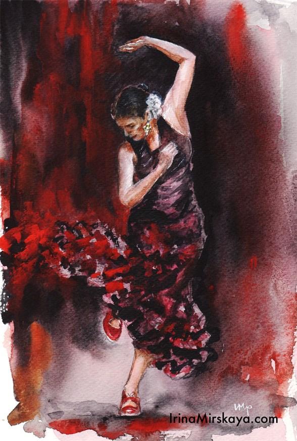 Woman Dancing Red Dress Watercolor Painting by Irina Mirskaya