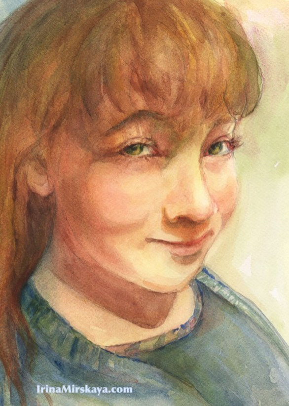 Young Girl Portrait Watercolor Painting by Irina Mirskaya