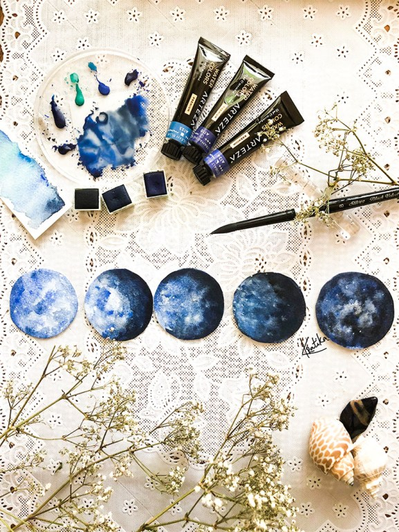 Phases Of The Moon Watercolor Painting by Kratika Agarwal