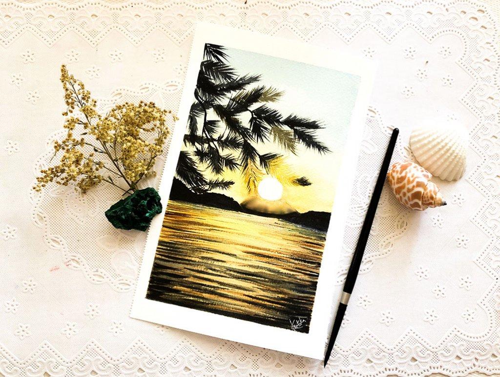Seascape Watercolor Painting by Kratika Agarwal