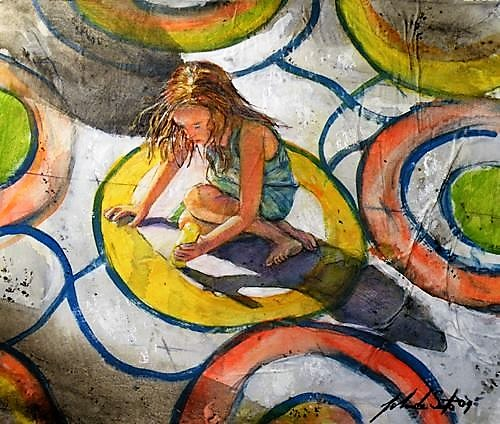 Sidewalk artist- 12′ x 14″ Watercolor and gouache on paper- Sold as part of National Art